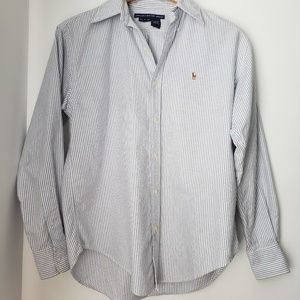 Ralph Lauren Blue White Striped Button Down